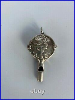 Antique Victorian English Nanny Whistle Pendant Fob Hallmarked 1903-fabulous