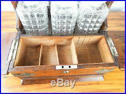 Antique Victorian English Oak Tantalus Tabletop Cigarette Box Secret Drawer 1880
