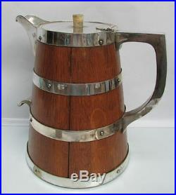 Antique Victorian English Oak Wood & Silver Plate Lemonade Pitcher & Beakers