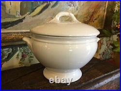 Antique Victorian English White Ironstone Pottery Lidded Tureen