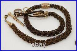 Antique Victorian English Woven Hair Mourning Albert Watch Chain & Compass Fob