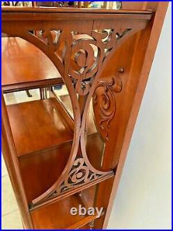 Antique Victorian Etagere Curio Cabinet locking glass door key Beveled mirrors