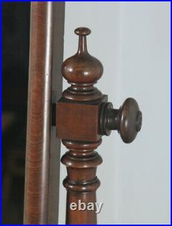 Antique Victorian Flame Mahogany Floor Standing Rectangular Cheval Mirror