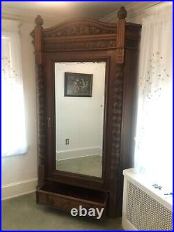 Antique Victorian Glass Door Armoire/Wardrobe Corner Cabinet