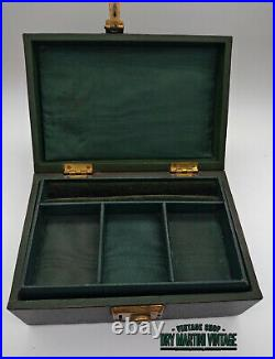 Antique Victorian Green Leather Jewellery Trinket Box English Lever Trade Mark