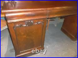 Antique Victorian Mahogany English Double Pedestal Server Sideboard or Buffet