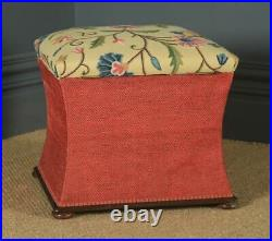 Antique Victorian Mahogany & Upholstered Concave Ottoman Box Stool Trunk Seat