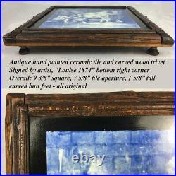 Antique Victorian Painted & Signed, English Ceramic Tile, Black Forest Trivet