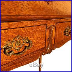 Antique Victorian Quartersawn Oak Drop Front Writing Secretary Desk