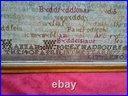 Antique Victorian Sampler In Welsh & English 1877 Wigley Hadbourn Little Mont