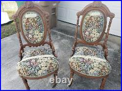 Antique Victorian Slipper or Parlor Chair Set