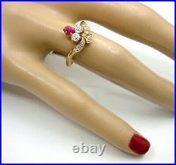 Antique Victorian Tiara Ruby Diamond 18k Gold Ring-English