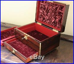 Antique Victorian wood Jewelry box, Rosewood English circa 1875