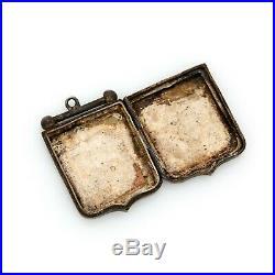 Antique Vintage Victorian 9k Rose Gold Sterling Silver English Equestrian Locket