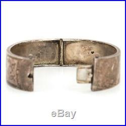 Antique Vintage Victorian Sterling Silver English Chased Wedding Bangle Bracelet