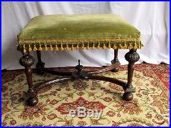 Antique William and Mary Bench stool, Solid Wood Ornate Upholstered, Gorgeous
