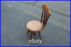 Antique Wood Piano Bench Stool Seat With Back Rest Glass Claw Feet Circular Seat