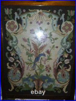 Antique early 1900's English Floral Needlepoint Wooden an glass Fireplace Screen