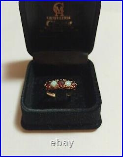 Antique victorian english gold ring with opals and garnets