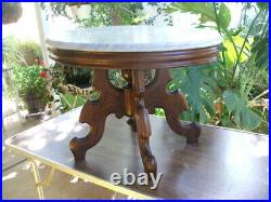 BEAUTIFUL ANTIQUE VICTORIAN WALNUT MARBLE TOP TABLE (parlor, center table, lamp)