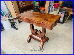 Beautiful Antique Flip Top Leaf Victorian Carved Console Dining Table