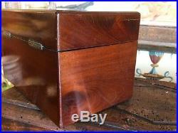 Beautiful English Mahogany Double Tea Caddy Circa Late 1800s Early 1900s