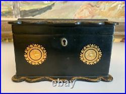 Beautiful English Victorian Papier Mache Double Tea Caddy Circa 1860