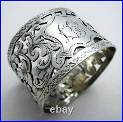 Beautiful Victorian 1893 Sterling Silver Pierced English Antique Napkin Ring