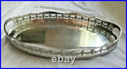 Big Antique English Silverplate Serving Gallery Tray Plateau Sheffield Footed