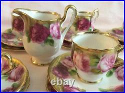 C1920 ROYAL ALBERT OLD ENGLISH ROSE LAVISH GOLD 32-pc DEMITASSE COFFEE COCOA SET