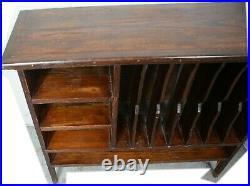 COOL Antique British Oak Primitive English Music / Record / File Cabinet Shelves