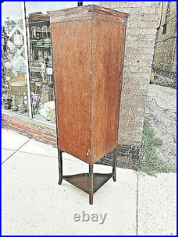 Edwardian English Victorian antique Corner Curio curved glass cabinet