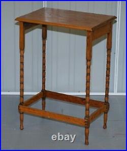 Edwardian Oak Bobbin Turned Leg English Side End Lamp Wine Table Nice And Simple