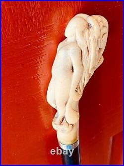 Elegant English Walking Cane, Carved Bone Reclining Nude Female, Ebonised Shaft