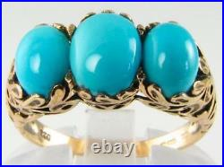 English 9k 9ct Gold Turquoise Trilogy 3 Stone Art Deco Ins Large Ring