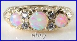English 9k Gold Victorian Insp Aaa Opal & Diamond Ring