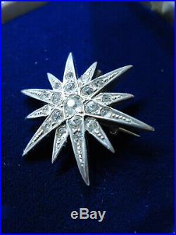 English Antique 1890s Victorian Diamond Paste Star Burst Brooch Pendant Silver