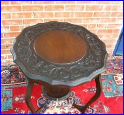 English Antique Mahogany Victorian Round Occasional Table / Side Table