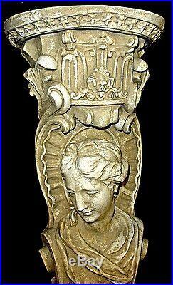 English Antique Victorian Maiden Brackets Sconce Pair