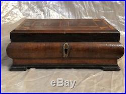 English Antique Walnut Inlaid Wooden Tea Caddy Box Victorian