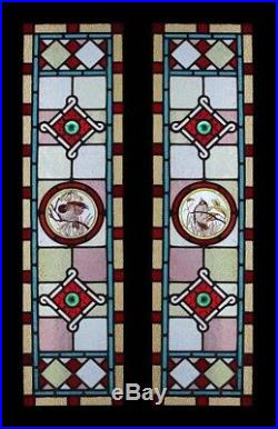 English Rare Victorian Pair Painted Birds Stained Glass Windows Sidelights