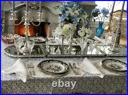 English Sheffield Silver Plate 3 Sections Mirrored Plateau Extra Long