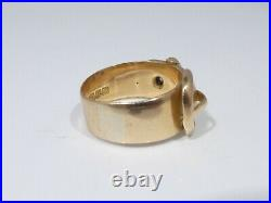 English Victorian 18k Gold Buckle Ring Size 7 With Diamonds 4.8 Dwt