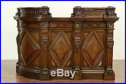 English Victorian Antique Oak Hotel Reception Desk, Bank Counter or Bar #30237