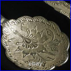 English Victorian Etched 3 Piece Silver Plate Serving Set in Velvet Case