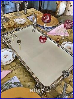 English Victorian Silver Plate Mirrored Plateau 24 inch Rectangle