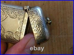 English Victorian Sterling Silver Vesta Case Antique