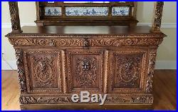 English Victorian Style Carved Oak Canopy Bar with Stained Glass Panels c1940s