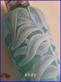 Fine Antique Blue White Leaves Cameo glass Scent Bottle Perfume 5 English