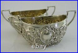 Good Sized English Solid Sterling Silver Salt Cellars 1894 Victorian Antique